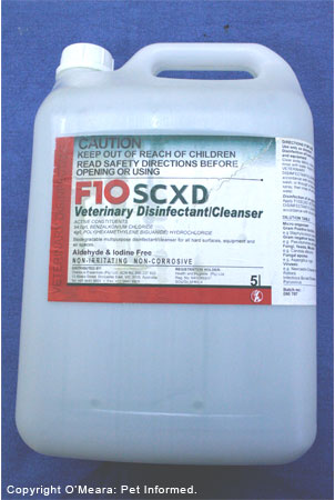 F10 is a disinfectant sometimes used for killing canine parvovirus. It may not be effective.