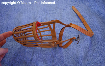 This is a basket muzzle as viewed from above. It can be placed on a dog's face to prevent rodent poison access.