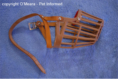 This is a basket muzzle as viewed from the side. It can be placed on a dog's face to prevent rodenticide access.