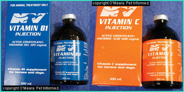 Vitamin B and vitamin C can be used as part of the treatment of distemper. Their action is non-specific and effects may not be significant.