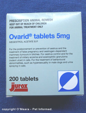 Ovarid or megestrol acetate can be used for heat suppression (estrus suppression) and pregnancy prevention (birth control) in the bitch.