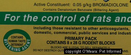 This is the label of a rodent poison (rodenticide) that contains a bittering agent designed to reduce mouse and rat bait ingestion by pets and children.