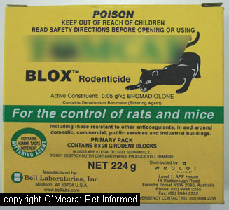 The active ingredient, bromadiolone, is one of the more common second generation, superwarfarin compounds found in commercial rodenticides.
